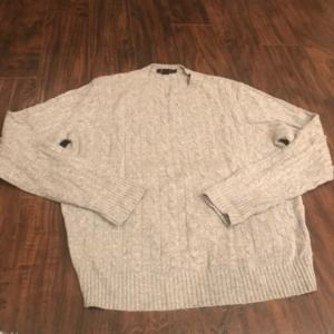 J. Crew grey cable knit cashmere and wool sweater